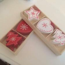 SET OF 12 MINI RED WHITE WOODEN CHRISTMAS HEART STAR TREE  DECORATIONS