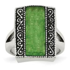 Chisel Stainless Steel Simulated Jade Antiqued Rectangular Ring SR275