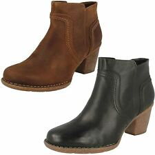 Ladies Clarks Chunky Heel Nubuck Leather Ankle Boots - Carleta Paris