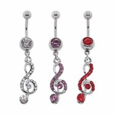 Steel CZ Gem Belly Button Ring Navel Piercing Music Note Dangle