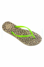 Havaianas - Tongs Slim animals vert fluo imprimé léopard
