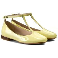 NEW CLARKS FESTIVAL GLEE PALE YELLOW PATENT FLAT SHOES UK Size 5, 5.5,8 D