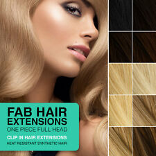 """FAB OnePiece Clip-In Heat Resistant Synthetic Hair Extensions 18"""" Full Head 240g"""