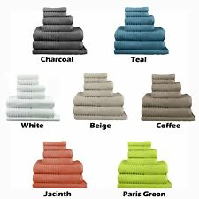 100% Egyptian Cotton Ribbed Towel Set - 5 Piece or 7 Piece - 650GSM