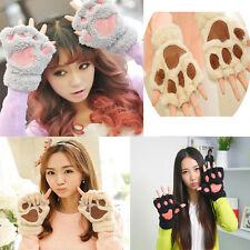 HOT Sale Outdoor Sports Bear Paw Claw Half Finger Mittens Winter Warm Gloves NEW