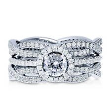 Silver Halo Woven Engagement Ring Set Made with Swarovski Zirconia 1.59 CT