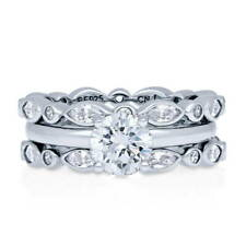 BERRICLE Sterling Silver Round CZ Solitaire Engagement Ring Set 2.84 Carat