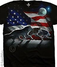 AMERICAN-WOLF RUN FLAG-PATRIOT-USA FLAG sz L only