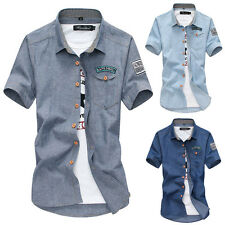 Fashion Mens Slim Fit Casual Dress Shirt Tee Tops Short Sleeve POLO T-Shirts U