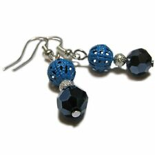 Dainty Blue Glass and Filigree Bead Earrings By SoniaMcD