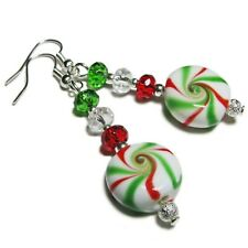 Adorable Christmas Candy Lampwork Bead Earrings By SoniaMcD