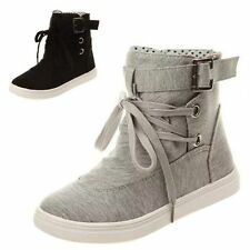 Women High Top Flats Casual Shoes Lace Up Sneakers Girl Board Trainers