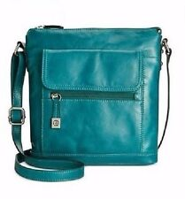 BRAND NEW GIANI BERNINI FLORENTINE GLAZED LEATHER VENICE CROSSBODY BAG GRN/BLUE