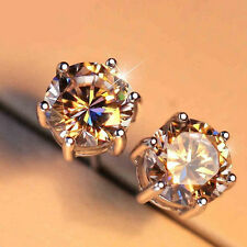 Women 925 Sterling Silver Round Cut Solitaire Simulated Diamond Men Stud Earring