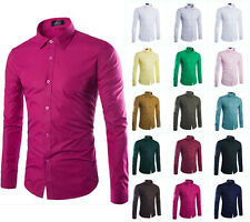 Stylish Mens Luxury Casual Dress Shirts Slim Fit Long Sleeve Business Men Shirts