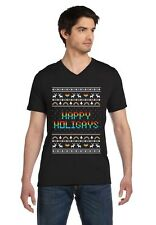 Happy Holigays Rainbow Gay & Lesbian Ugly Christmas V-Neck T-Shirt Pride