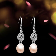 925 Sterling Silver Natural Fresh Water Pearl Dangle Drop Earrings Women Wedding