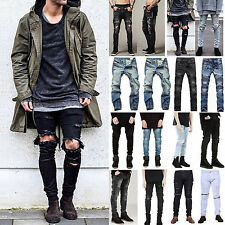 Mens Casual Straight Slim Fit Biker Distressed Ripped Denim Jeans Pants Trousers