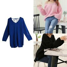 Womens Knitted Sweater V-Neck Long Sleeves Knitwear Self Tie Back Pullover V3M5
