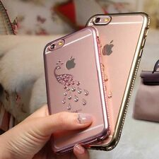 New Luxury Shiny Peacock Rhinestone Silicone Case For iPhone 6 6S Soft Cases 1pc