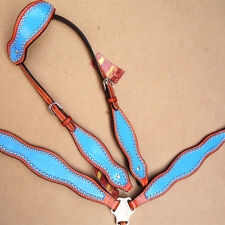 HILASON WESTERN LEATHER HORSE ONE EAR BRIDLE HEADSTALL BREAST COLLAR TURQUOISE