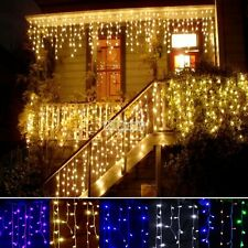 96LED Hanging Icicle Snowing Curtain Lights Outdoor Fairy Xmas String Wedding
