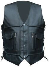 NEW MENS LEATHER WAIST COAT MOTORCYCLE CARGO POCKET VEST ALL SIZES