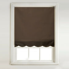 Chocolate Brown Thermal Blackout Scalloped Roller Blind + METAL BRACKET FITTINGS