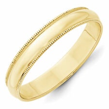 4mm 10K Yellow Gold Standard Fit Milgrain Edge Wedding Ring Band Size 5-14