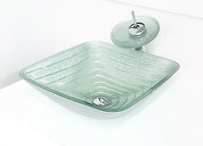 "Plus 17"" Square Silver Artistic Bathroom Tempered Glass Vessel Sink Faucet Combo"