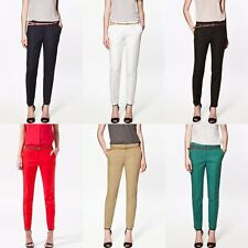 Fashion Womens Casual Skinny Leg Jeggings Pencil Pants Stretchy Trousers W/ Belt