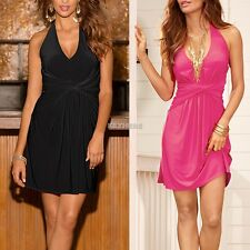 Sexy Femmes col v Robe sans manches Slim Casual Clubwear Party Robe K0E1