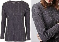 TOPSHOP EMBELLISHED STRIPED COTTON JUMPER/SWEATSHIRT/TOP  SIZE 6-8-10-12-14