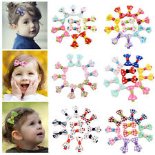 Lovely 5Pair Girls Kids Candy Color Dot Flower Ribbon Bow Hairpin Hair Clips
