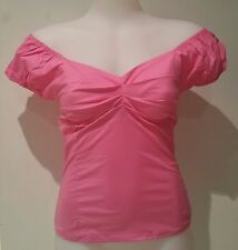 Rockabilly Pin Up Style > CANDY PINK Peasant Top Vintage Inspired > Sizes 8 - 16