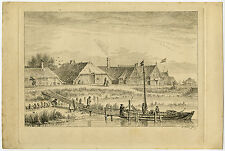 Antique Master Print-VILLAGE-HOUSES-DOCK-BOATS-Avercamp-Fokke -c.1750
