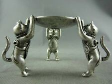 Chinese Tibet Silver Animal 3 fu Cat oil lamp Candle Holder Candlestick statue N