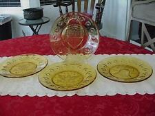 VINTAGE ANCHOR HOCKING AMBER GLASS BI CENTENNIAL PLATES SET OF 4