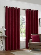 PLAIN CHENILLE CLARET RED LINED RING TOP EYELET CURTAINS 4 SIZES