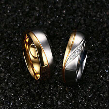 Fashion Titanium Steel Rhinestone Couple Ring Men/Women's 18K Gold Plated Ring