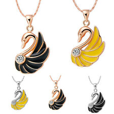 New Women Swan Crystal Rhinestone Silver/Gold Chain Pendant Necklace Jewelry Top