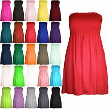 New Womens Ruched Jersey Plain Ladies Sheering Flared Swing Bandeau Boobtube Top
