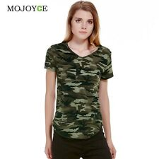 Women Camouflage Pocket T-shirts Army Print Clothes Short  Sleeve T-shirt Roupas