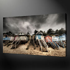 BEACH HUTS HIGHEST QUALITY CANVAS PRINT PICTURE  WALL ART READY TO HANG