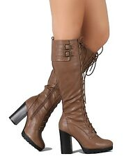 Wild Diva Taupe Knee high Lace up Boots Lug Sole Chunky Heel Womens shoes kimber