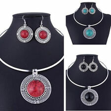 Jewelry Women Necklace Earrings Vintage Sets For Turqoise New Round Sets