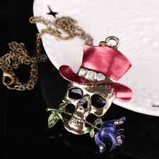 Hot Sale Unisex Décor Gifts Silver Plated Skull Flower Necklace Pendent Jewelry