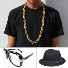80's Old School Rapper RUN DMC Easy D Hip Hop Fedora Rope Chain Costume Kit