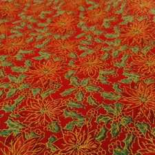 Poinsettia Christmas Cotton Fabric in Two Colours, 110cm wide
