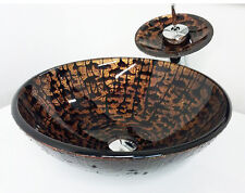 """Plus 16"""" Brown Tree Pattern Bathroom Tempered Glass Vessel Sink Faucet Combo"""